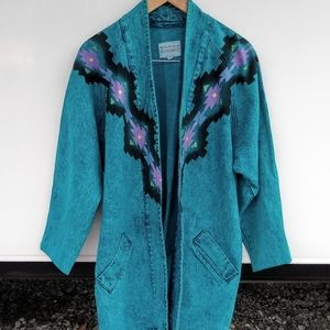 Vintage Sundance Denim Acid Wash Southwest Jacket